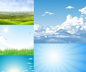 5 beautiful sky theme vectors
