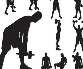Silhouettes athletes vector