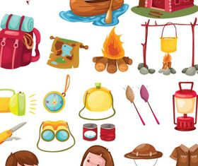 Shiny Camp Icons vector
