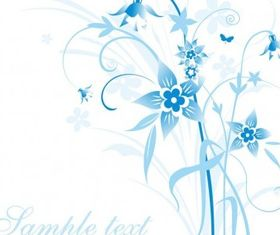 Abstract Blue Floral Illustration art set vector
