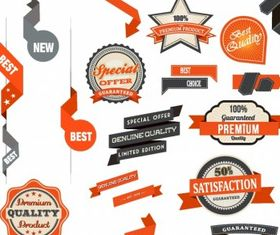 Badge and Ribbon Set design vectors