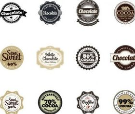 Chocolate Badges vectors material