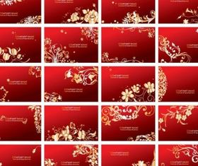 Floral Business Cards Set vector design