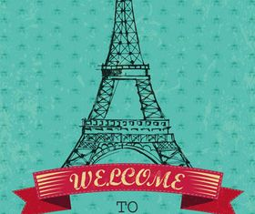 Backgrounds with Paris set vector
