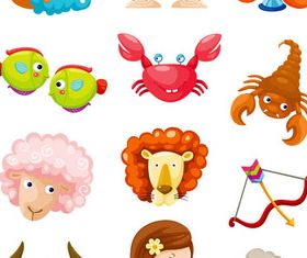 Cartoon Zodiac Symbols Set creative vector