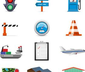 Transportation Color Icons Set vector