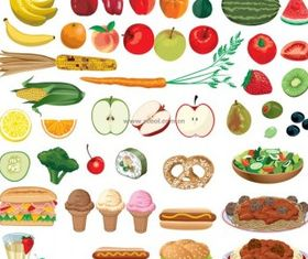 food fruits and vegetables vectors graphics