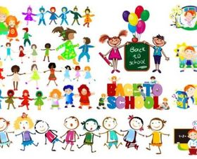 happy children shiny vector illustration
