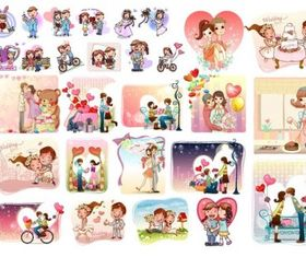 love theme vector set