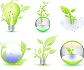 Green Eco Icon Collection vectors material