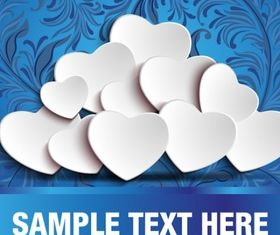 White heart and blue floral background vectors
