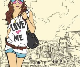 Fashion Girl Illustration design vectors