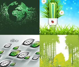 Green Nature Set vector graphics
