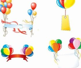 Beautiful Party Balloons Banners Vector Graphic