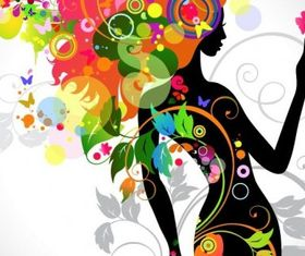 Colorful Floral Girl Silhouette art vector design