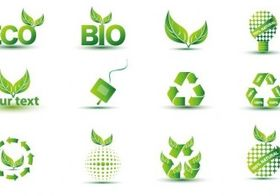 Green Eco Icon Set vector graphic