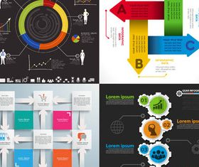 4 Kind Backgrounds with Infographics vectors