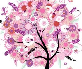 Tree with Flowers Illustration Vectors