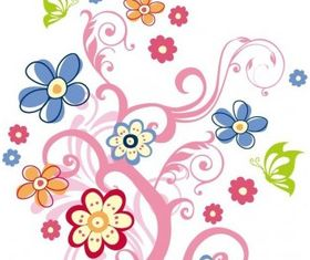 Tree with Flowers Graphic Art vector