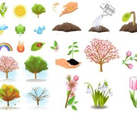 Plant trees vector set