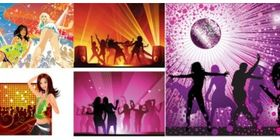 Disco music background set vector