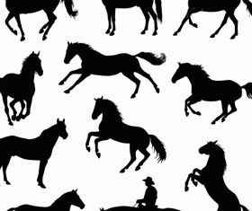 Horses Silhouettes Illustration vector