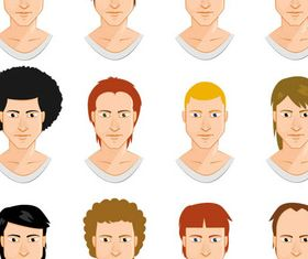 Faces Men graphic vector material