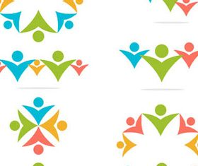 Logotypes with People 3 vector material