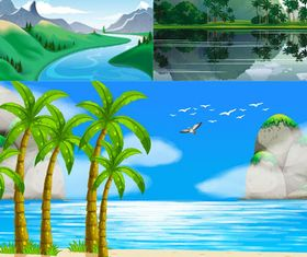 Landscapes Backgrounds 6 vectors material