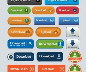 download upload buttons icons vector