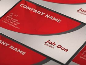 Abstract red business card template vector