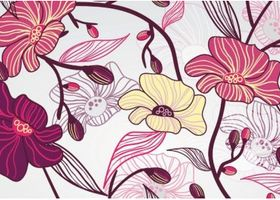 Artistic Background With Flowers set vector
