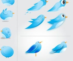 witter Birds Icons Free vector