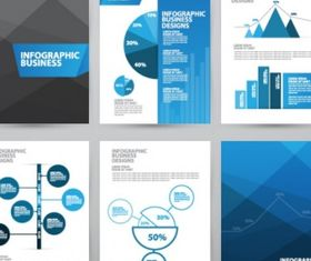 Business brochures set vector set