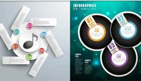 Music Infographics Backgrounds vector material