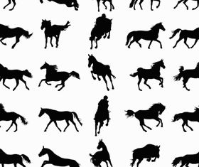 Horses Silhouettes Set 2 vector set
