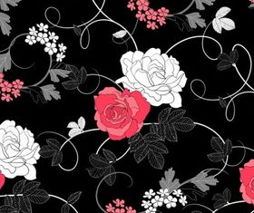 Black background floral pattern vector material