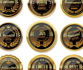 Golden Labels and Stickers Illustration vector