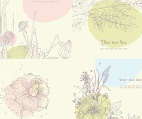 Floral line drawing vectors material