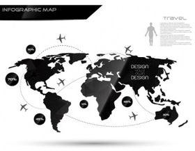 Black and white infographic world map vector design