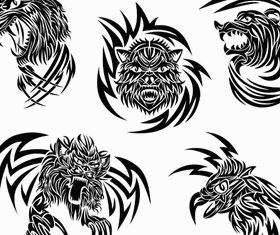 Animals Tattoo free vector material