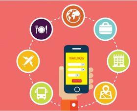 Travel app icons interface design vectors