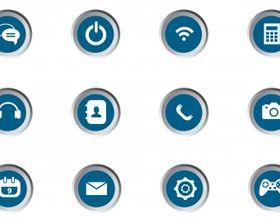 Mobile app icon set Free vector