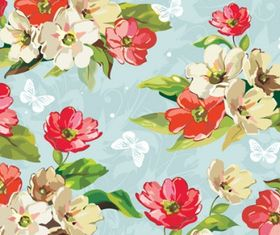 Beautiful flower pattern mix vector graphics