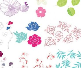 flowers leaves vector material