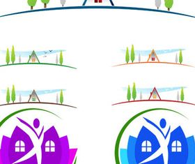 Eco House Logotypes 3 vector