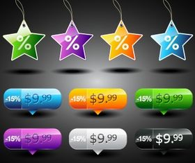Star sale tags Free vector design
