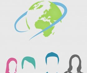 Corporate people world set vector