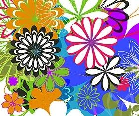 Simple colorful flowers vector graphics