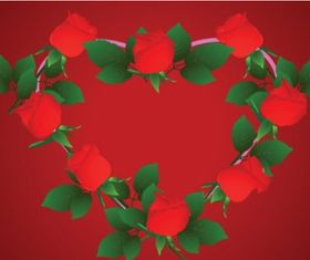 Heartshaped rose border clip art Free design vector